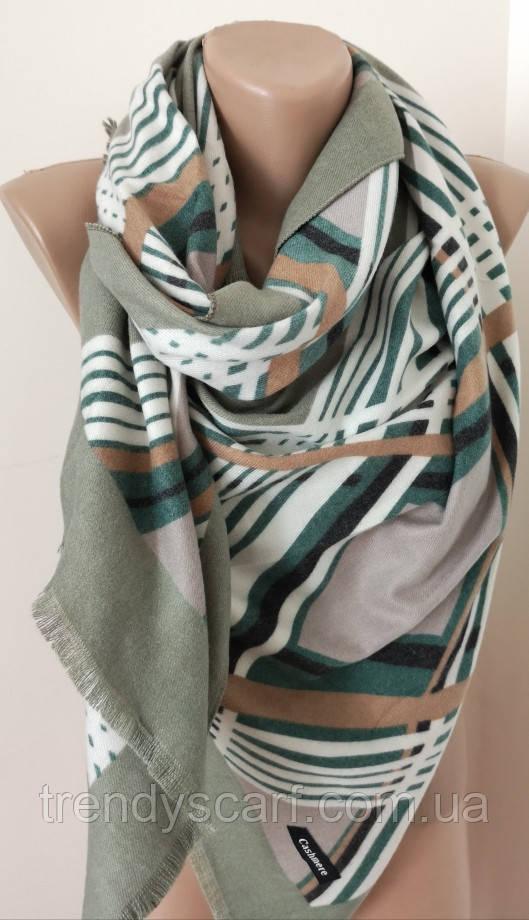 Женский Кашемировый шарф-палантин.Светло зеленый белый полосы коричневый. Кашемир 180\70