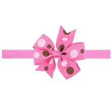 Рожева дитяча пов'язка в різнокольоровий горошок - розмір універсальний (на резинці), бантик 8см