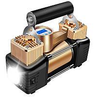 ➤Автокомпрессор YANTU E21 автомобильный электрический с фонарем от клемм прикуривателя