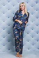 ЖІноча  шовкова піжама-тройка:кофта,шорти і штани.Р-ри 42-58