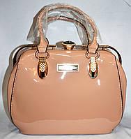 Женская пудровая лаковая сумка Премиум класса 25*22 см