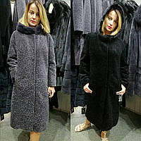 Меховое пальто из натуральной овчины астроган и норки c2d1a8f513eef