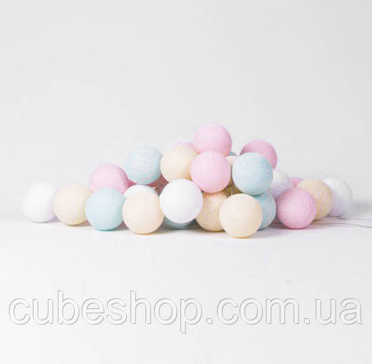 """Тайская гирлянда """"Pastel"""" (20 шариков) петля"""