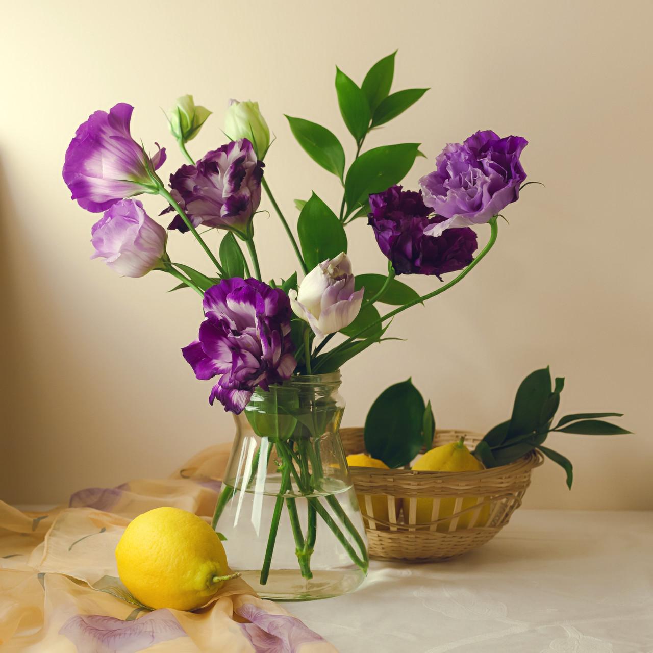 """Картина на стекле """" Лимон и букет с цветами"""""""