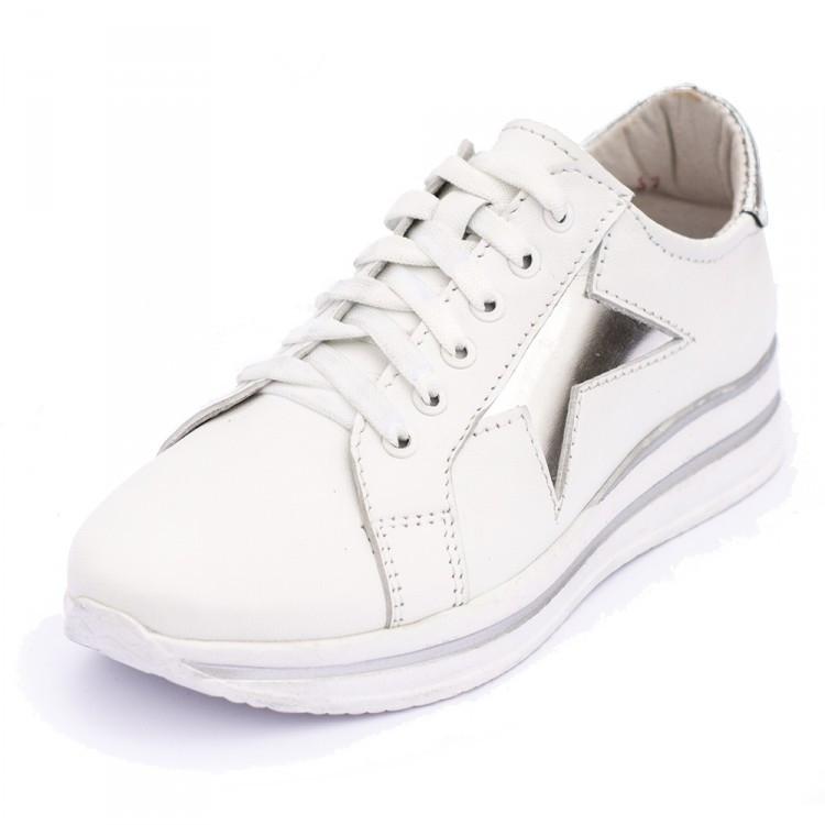 Кроссовки белые со звездами 8041