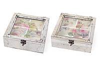Коробка для чая деревянная со стеклянной крышкой Птицы, цвет - серебро антик BonaDi 487-311
