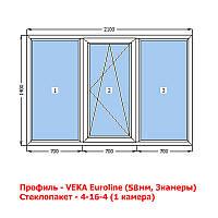 VEKA (58мм) Окно металлопластиковое 2100х1400