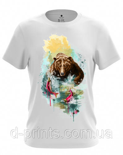 "Футболка мужская с рисунком ""Медведь"" MF-12-40"