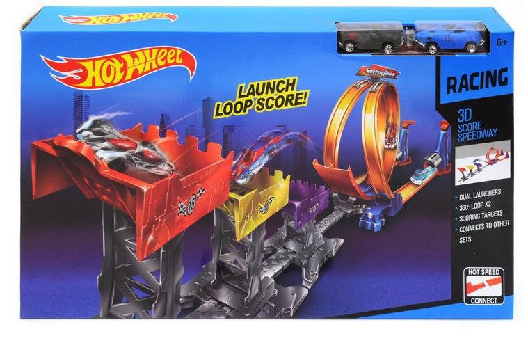 Автотрек с машинками, запуском и мертвой петлей Hot Wheel