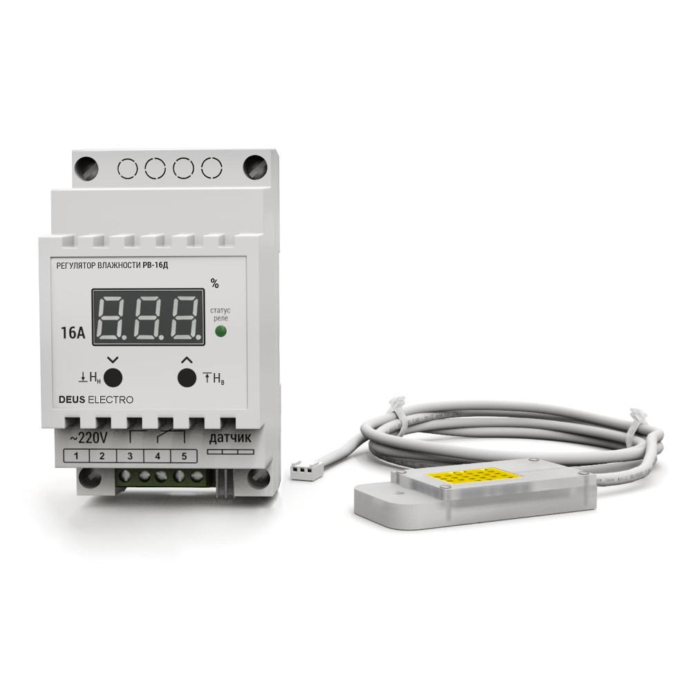 Регулятор-измеритель влажности цифровой на DIN-рейку РВ-16Д-AM2302 (220В, 16А)