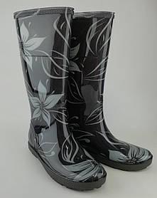 Резиновые сапоги Hawai Lady Exclusive Цветы Серый Demar Польша
