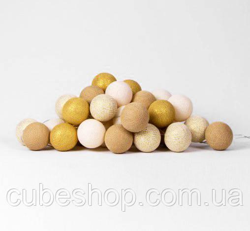 """Тайская гирлянда """"Gold Mix"""" (20 шариков) петля"""
