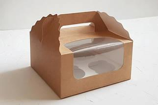 """Картонная коробка для капкейков """"Крафт на 4 шт. с окном""""( 5 шт)"""