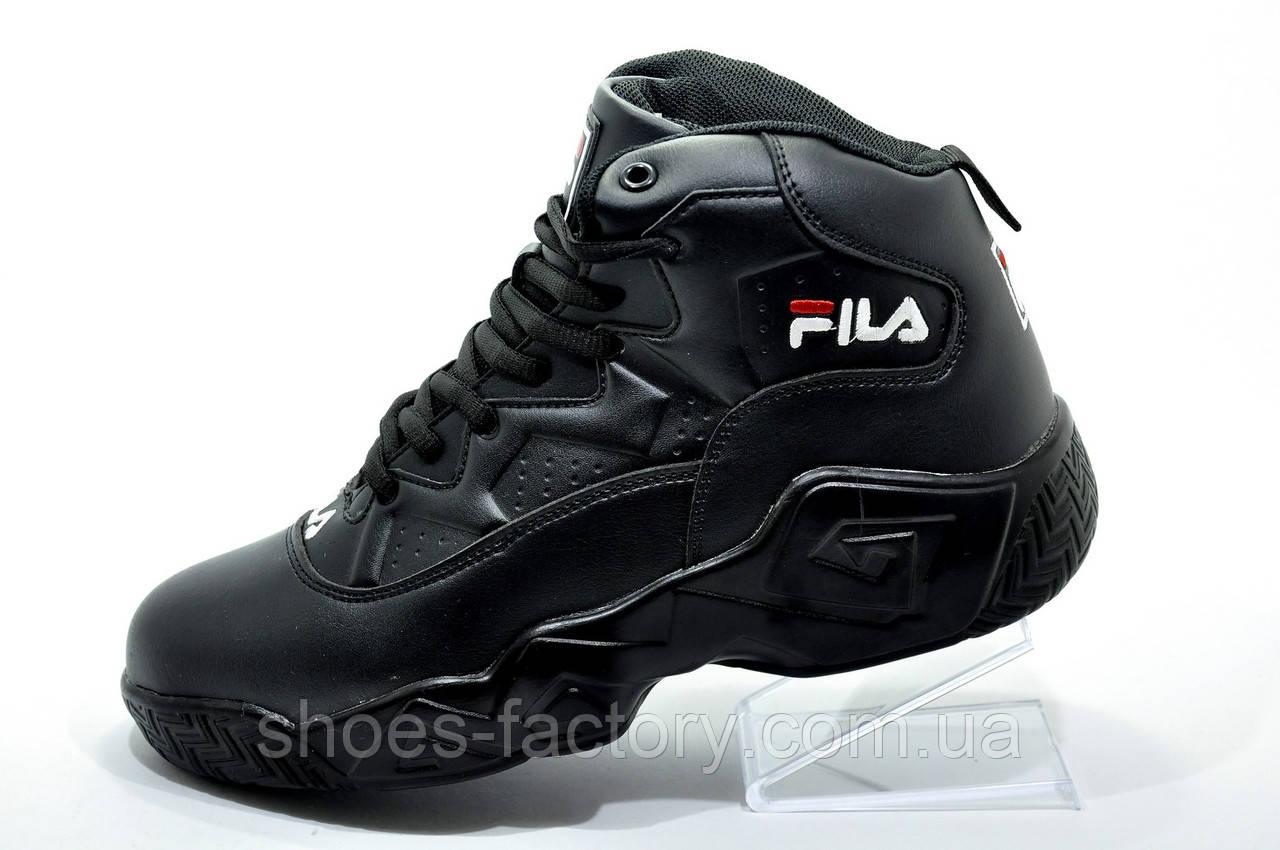 Кроссовки на меху унисекс в стиле Fila MB Mesh, All Black (Зимние)