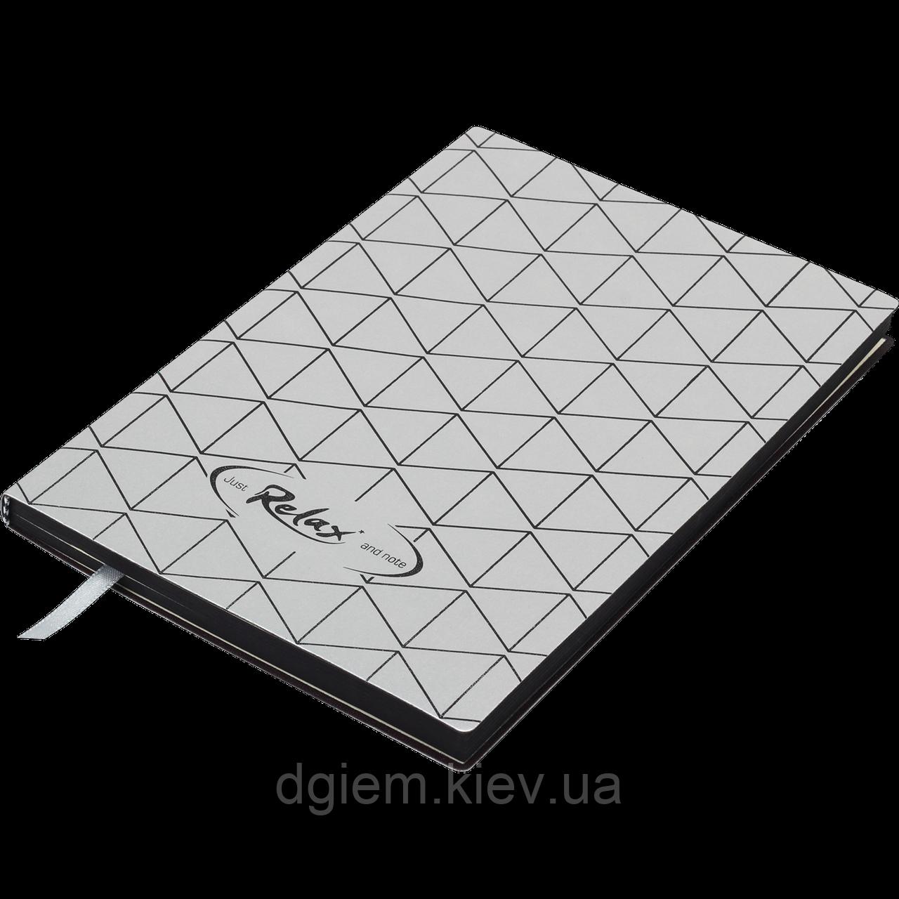 Блокнот ділової RELAX А5 96арк. чистий, позов. шкіра, срібло