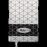 Блокнот ділової RELAX А5 96арк. чистий, позов. шкіра, срібло, фото 2