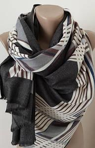 Женский Кашемировый шарф-палантин.Коричневый  белый полосы серый. Кашемир 180\70