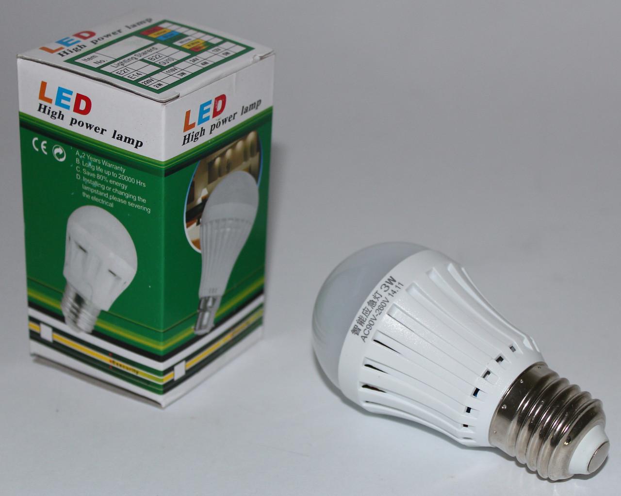 Светодиодная лампа с аварийным питанием 3W