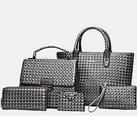 Набор женских сумок 5в1 из экокожи серый