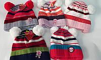 Детская шапочка с бумбончиками вязка полосатик  р. 40-42