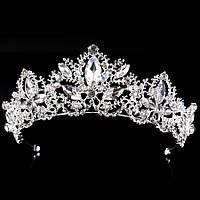 Свадебная диадема, корона, тиара на голову для невесты посеребрение 47123с-б