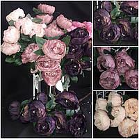 Букет пышных пионов, интерьерные цветы, 8 веточек, выс. 53 см., 205/175 (цена за 1 шт. + 30 гр.)
