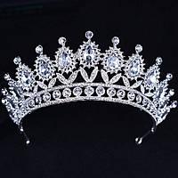 Свадебная диадема, корона, тиара на голову для невесты посеребрение 47124с-а
