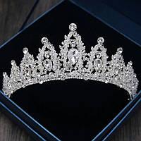 Свадебная диадема, корона, тиара на голову для невесты посеребрение 47132с