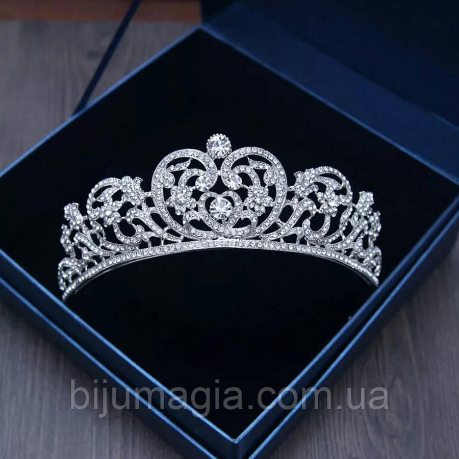Весільна діадема, корона, тіара на голову для нареченої сріблення 47134с