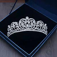 Весільна діадема, корона, тіара на голову для нареченої сріблення 47134с, фото 1
