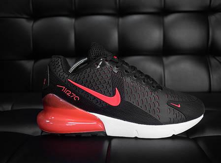 Кроссовки мужские Nike 270 черные с красной вставкой топ реплика, фото 2