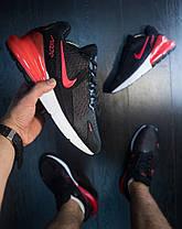 Кроссовки мужские Nike 270 черные с красной вставкой топ реплика, фото 3