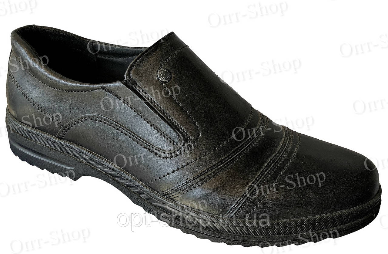 Туфли мужские кожаные на резинке