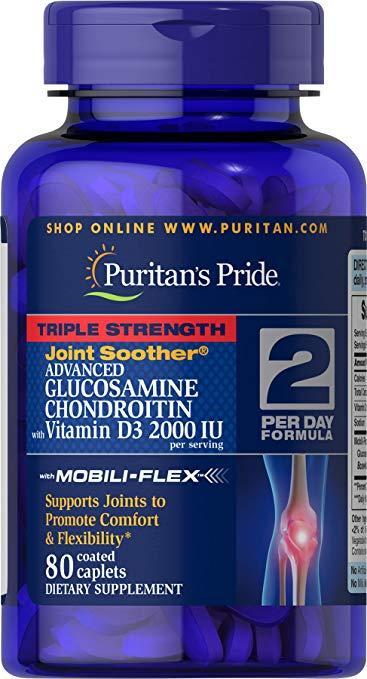 Puritan's Pride Glucosamine Chondroitin MSM Triple Strength with Vitamin D3 (80 таб.)