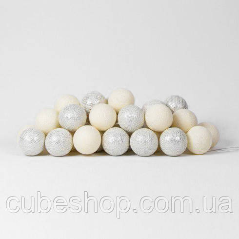 """Тайская LED-гирлянда """"Shell-Silver"""" (10 шариков) на батарейках"""