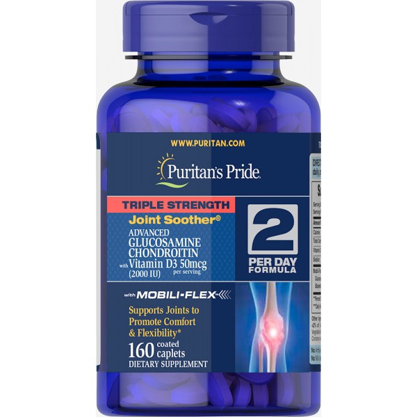 Puritan's Pride Glucosamine Chondroitin MSM Triple Strength with Vitamin D3, Для суглобів (160 таблеток.)