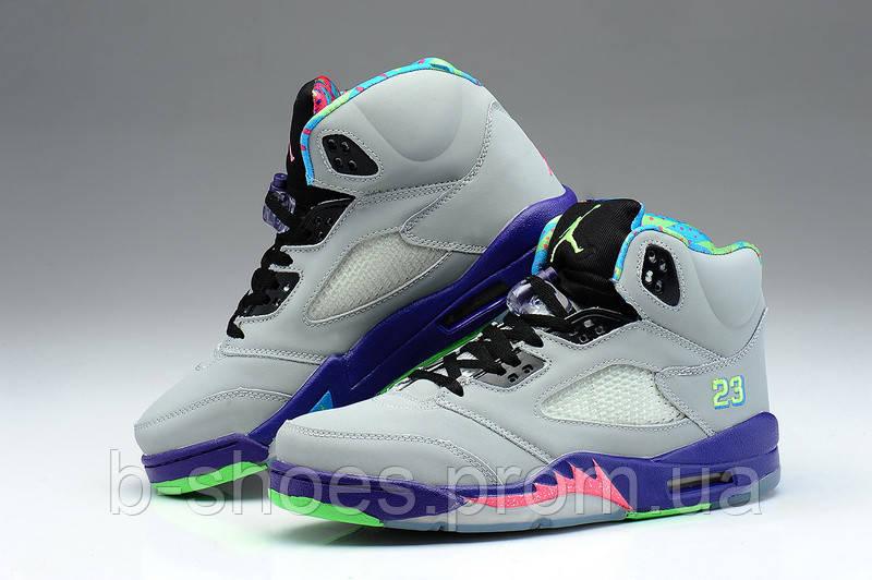 66801ae0 ... Женские баскетбольные кроссовки Air Jordan Retro 5 (Grey/Blue), ...