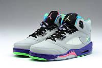 Женские баскетбольные кроссовки Air Jordan Retro 5 (Grey/Blue), фото 1