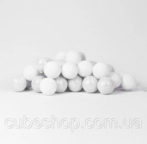 """Тайская LED-гирлянда """"White-Silver"""" (10 шариков) на батарейках"""