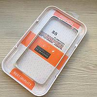 Серебряный металлический бампер Samsung S5