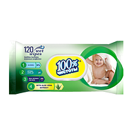 """Серветка волога """"100% Чистоти"""" 120шт КЛАПАН Без запаху/15"""