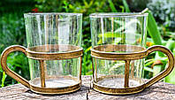 Коллекционный подстаканник со стаканом, Пара, Бронза, Германия, #S/V