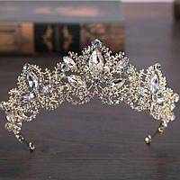 Свадебная диадема, корона, тиара на голову для невесты позолота 47123с-а