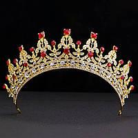 Свадебная диадема, корона, тиара на голову для невесты позолота 47128с