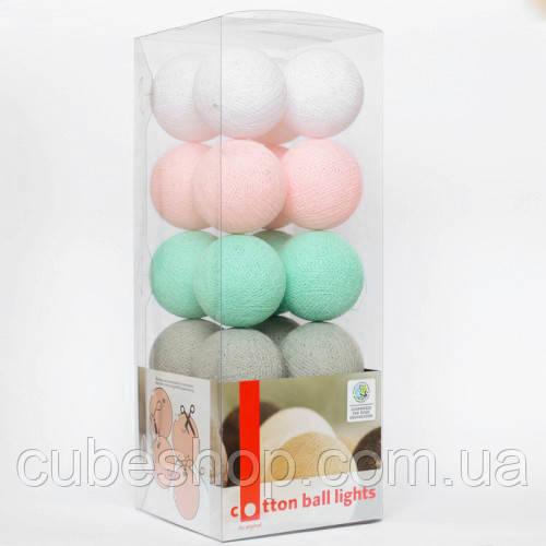 "Тайская LED-гирлянда ""Mint candy"" (20 шариков) на батарейках"