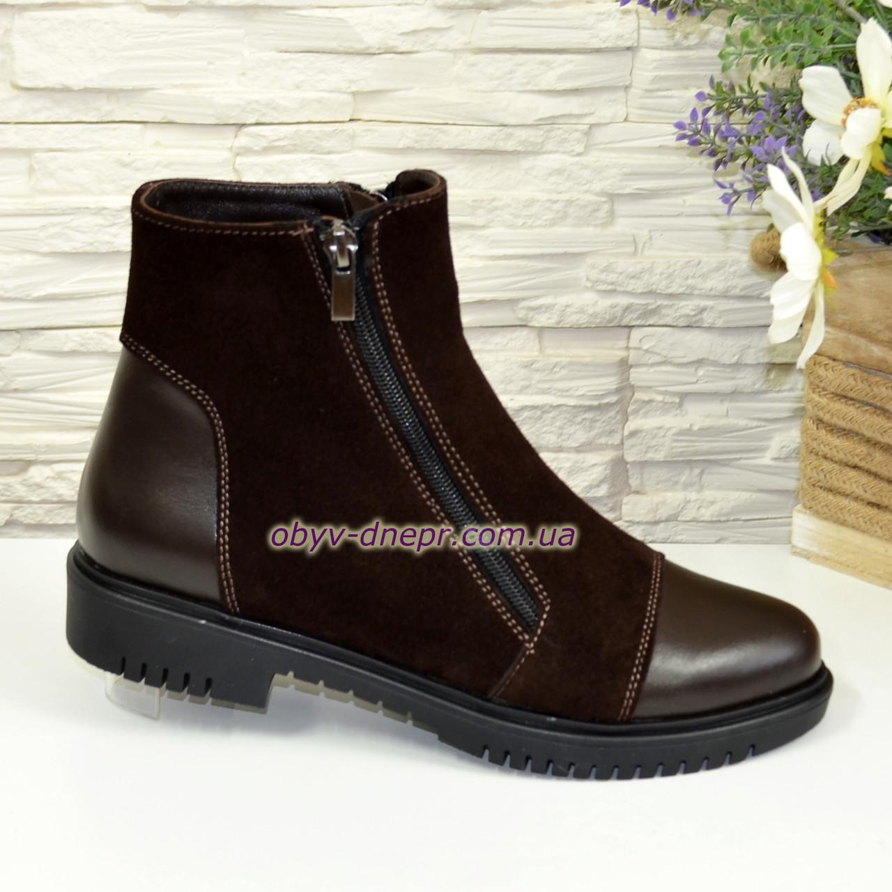 004b2392 Ботинки зимние женские на низком ходу, из натуральной кожи и замши  коричневого цвета, ...