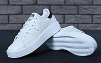 Кроссовки женские Adidas Stan Smith white/black (нат.кожа) р.36-40, фото 1
