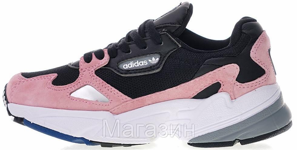 Женские кроссовки adidas Falcon Black/Pink Адидас черные с розовым
