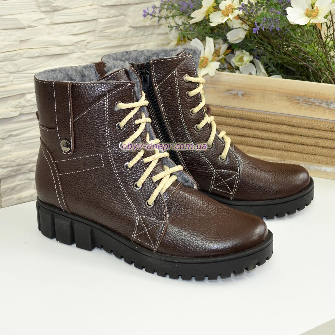 Жіночі демісезонні черевики на шнурівці, натуральна шкіра флотар коричневого кольору