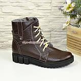Жіночі демісезонні черевики на шнурівці, натуральна шкіра флотар коричневого кольору, фото 2